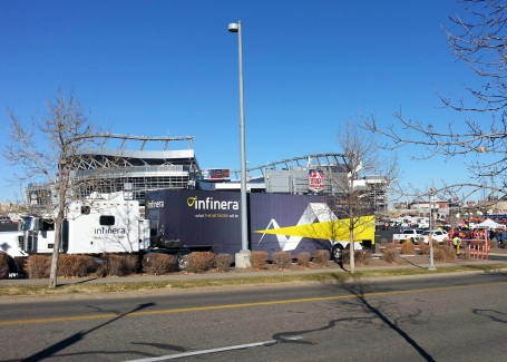 The Infinera Express in front of Sports Authority Field at Mile High