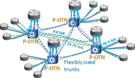 P-OTN enables packet aggregation to optimize the number of router ports utilized